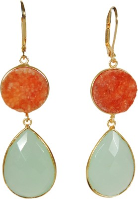 Studio B40 drop earring in semi precious Druzy stone and high quality faceted glass Brass Dangle Earring