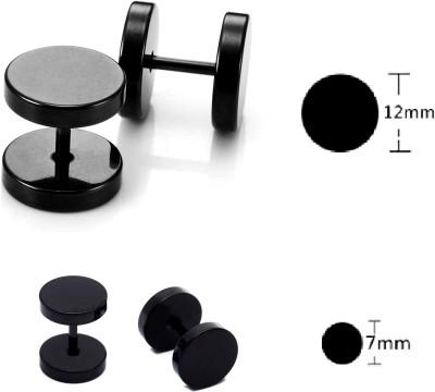 Kauberi Jewels 2Pair Barbel Punk Gothic Black Unisex 12mm & 7mm Size Stainless Steel Plug Earring