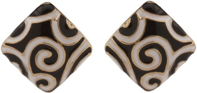 RIANZ New Gold Plasted Black & White Alloy, Crystal Stud Earring