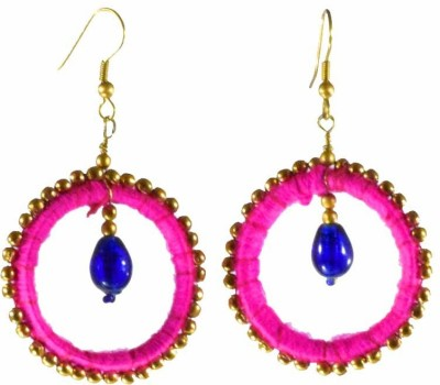 Ba No Batwo Rangakriti Fabric, Cotton Dori, Plastic Dangle Earring