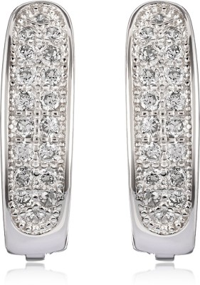 Om Jewells Gleaming Beauty Cubic Zirconia Sterling Silver Clip-on Earring