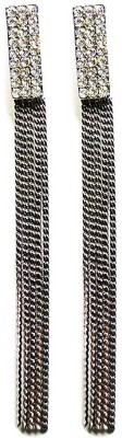 000 Fashions Glamorous 3.25 Inch Crystal Studded SIlver Tassel Earrings Crystal Alloy Tassel Earring