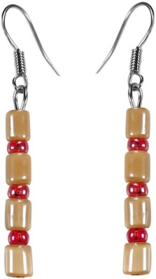 Crystals & Beads Coffee Brown Barrel Bead & Coral Red Colour Crystal Acrylic, Glass, Crystal Dangle Earring