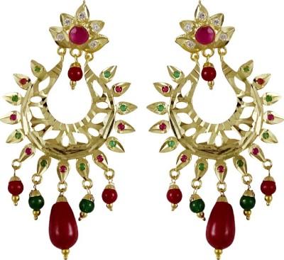 Gems N Pearls Jadau Filigree Brass Chandbali Earring