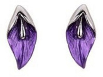 Fasherati Purple and Pink Crystal ded Leafy Crystal Crystal Stud Earring