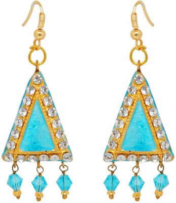 Jaipur Mart Triangle Aqua Lac With Shiny Alloy Drop Earring