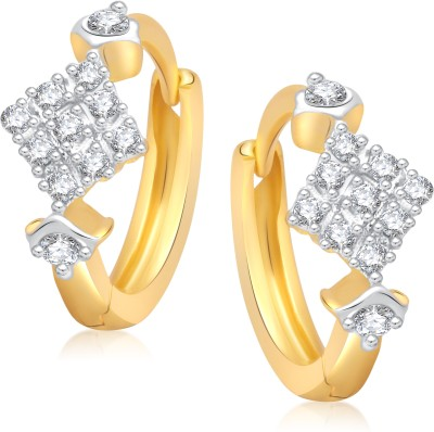 VK Jewels Square Shape Cubic Zirconia Alloy Huggie Earring