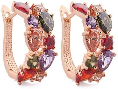 Crazymee Mona Lisa Multicolor Cluster Clip Earrings Nickel Hoop Earring