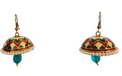 W Stop Meena Crystal Brass Dangle Earring