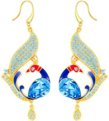 Yellow Chimes Glamorously Gorgeous Peacock Swarovski Crystal Alloy Dangle Earring
