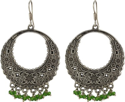 Silver Kreations Oxidised Tarditional Indian Crauartz Crystal, Quartz Nickel Chandbali Earring