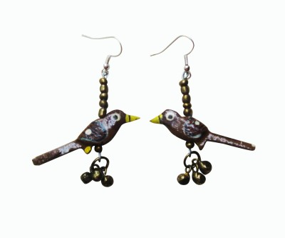 Juhi Malhotra Edgy Brown Wood Dangle Earring