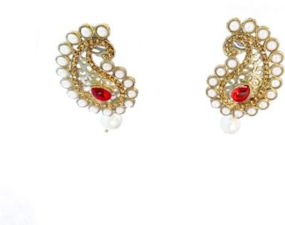 Ratnaraj India Traditional Red Color Pearl Design Beautiful Copper Drop Earring
