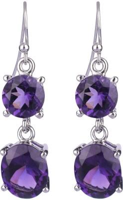 Krishna Pearls & Jewellers Princess Delight Amethyst Silver Dangle Earring