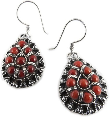 Miska Silver Authentic Coral Silver Dangle Earring