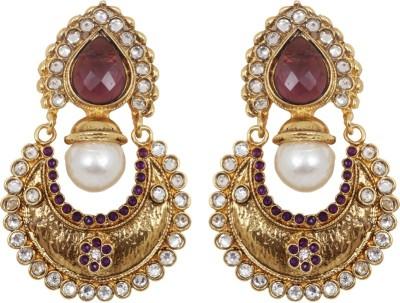 Jewelfin Berry color Alloy Chandbali Earring