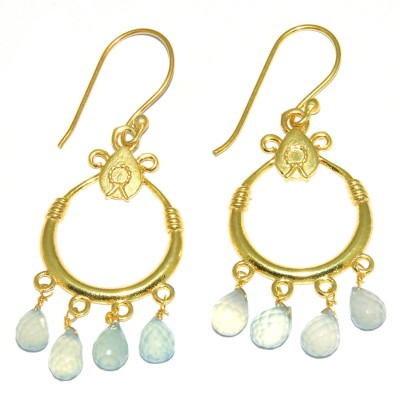 Casa De Plata Drop Blue Aqua Brass Earring Aquamarine Brass Dangle Earring