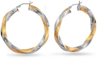 VelvetCase Irresistible Two Tone Designer Hoop Earrings Silver Stud Earring