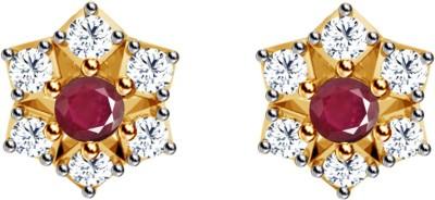 JacknJewel  Red Enchanting Yellow Gold 18kt Diamond Stud Earring