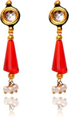 Ratnakar Red Sparkle Copper Drop Earring