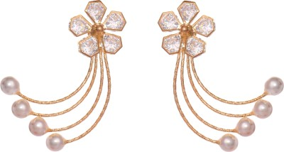 GemRoute Diva Floral Crystal, Pearl Alloy Chandelier Earring