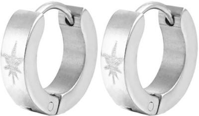 Men Style Leaf Design Stainless Steel Hoop Earring
