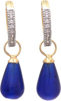 My Sara Blue Drop Cubic Zirconia Brass Drop Earring