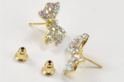 Gliteri Bow Shaped Dazzling Crystal Alloy Stud Earring
