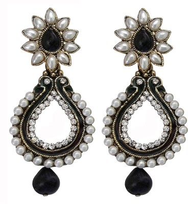 Shreya Collection Spring Sparkle-Black & White Alloy Chandbali Earring