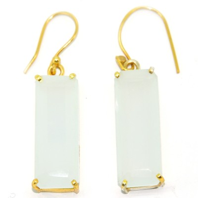 Casa De Plata Rectangle White Aqua Brass Earring Aquamarine Brass Dangle Earring