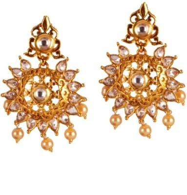 Ratnaraj India Fancy Design Traditional & Antique Stones Studed Copper Chandelier Earring