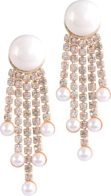 Sanaya Collection Floral Zircon Alloy Drop Earring