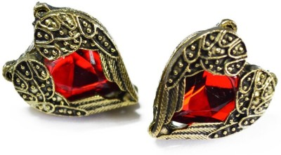 French Aura Red Heart Alloy Stud Earring