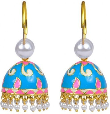 Jillcart Gold Plated Blue with Pink Jhumka Pearl Copper Jhumki Earring
