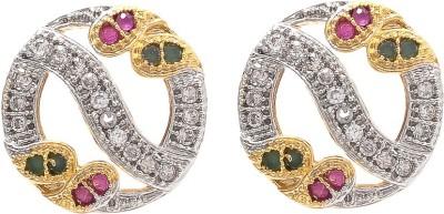 My Sara Multicolor For Women Cubic Zirconia Brass, Copper Stud Earring