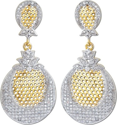 Enzy Long White Diamond & Golden Finish & Cubic Zirconia Alloy Drop Earring