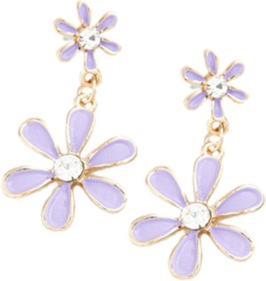 Young & Forever Mesmerizing Lilac Purple Floral Alloy, Enamel Drop Earring