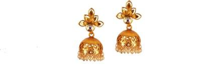 Ratnaraj India Plated with Stone & Pearls Copper Jhumki Earring