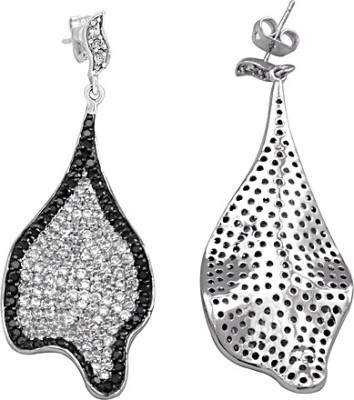 The Fine World Abstract Black And White Zircon Metal Drop Earring