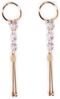 000 Fashions 3 Tier Golden Crystal Earrings Crystal Alloy Hoop Earring
