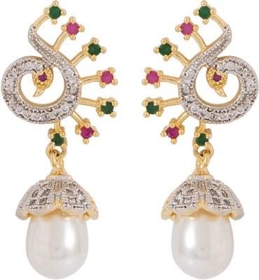 Voylla Precious Classic Embellished Crystal Sterling Silver Jhumki Earring