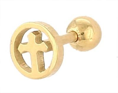 Little Goa Golden Cross In Circle Metal Body Piercing - 6 mm Metal Stud Earring