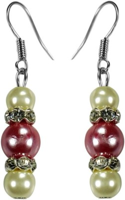 Crystals & Beads Ruby Pink Colour Round Pearl & White Pearl Bead with Diamond Spacer Acrylic, Glass, Crystal Dangle Earring