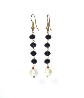shalini jewlles black beeds drops Beads Metal Dangle Earring