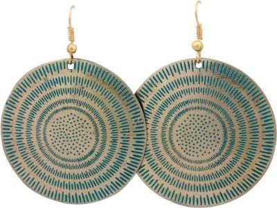 FSA Jewels Engraved Green Brass Dangle Earring