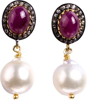 My DT Lifestyle Victorian Style EARING Ruby, Pearl Yellow Gold Drop Earring