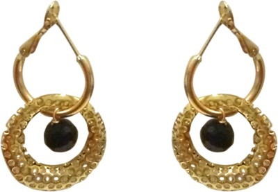 Deco Junction Round Bali With Single Stone Black Colour Material 4cm Alloy Hoop Earring