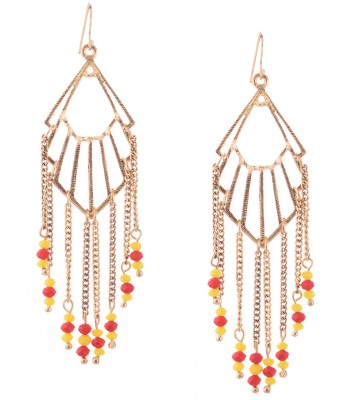 Trinketbag Red and yellow beaded gold trigonal Alloy, Glass Dangle Earring