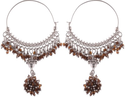 Sale Funda Hanging Brown Beads Alloy Chandbali Earring