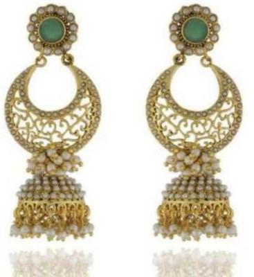 Happyshoppi Fashion Pearl Brass, Copper Jhumki Earring